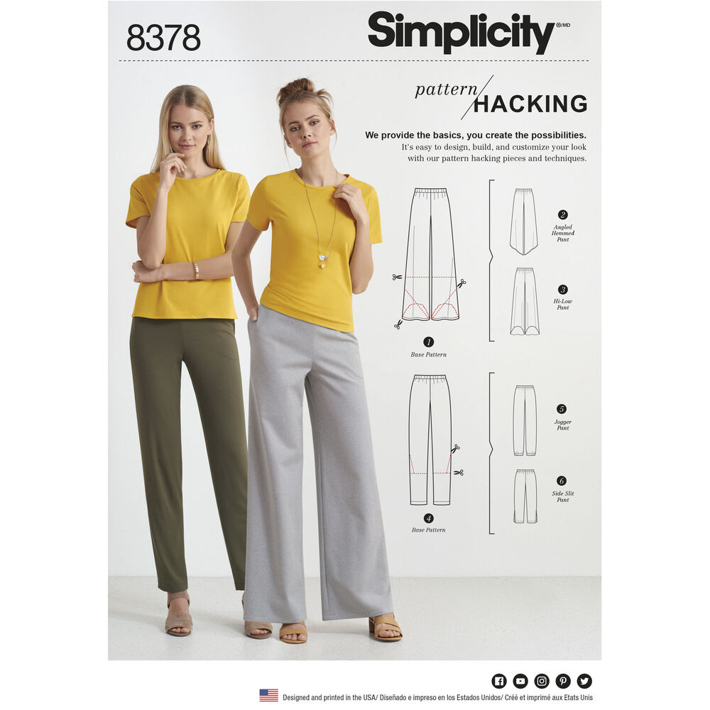 Simplicity Pattern 8378 Misses Knit Pants With Two Leg