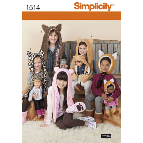 "Simplicity Pattern 1514 Child's and 18"" Doll Animal Hats"