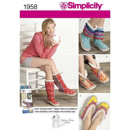 Simplicity Pattern 1958 Misses' Slippers