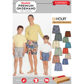 Simplicity Pattern EA995801 Premium Print on Demand Men's/Boys' Boxer Shorts