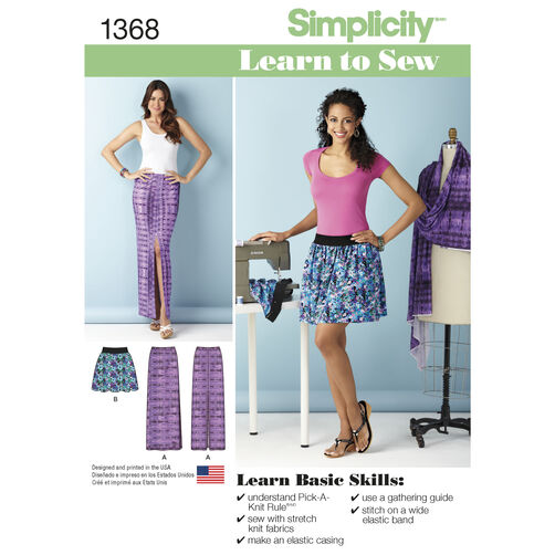 Simplicity Pattern 1368 Misses' Learn to Sew Pull-on Skirts