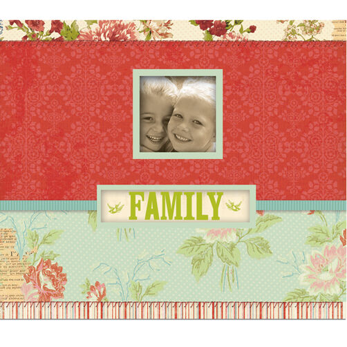 Simply K 8.5x8.5 Family Red Floral Frame a Name Scrapbook_30-442207