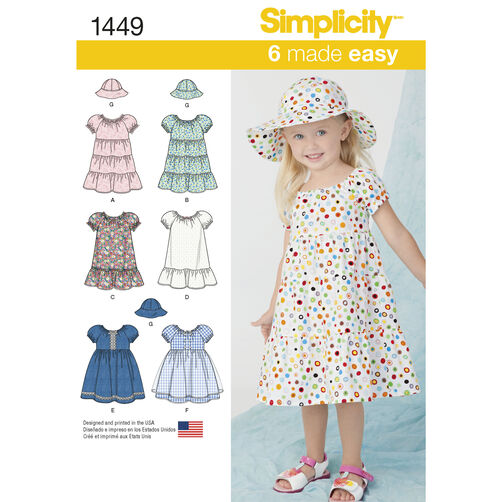 Simplicity Pattern 1449 Toddlers' Dress and Hat in Three Sizes