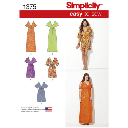 Simplicity Pattern 1375 Misses' & Plus Size Easy-to-Sew Pullover Dresses