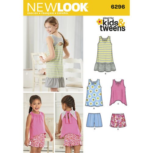 New Look Pattern 6296 Child's and Girls' Shorts and Knit Dress or Top