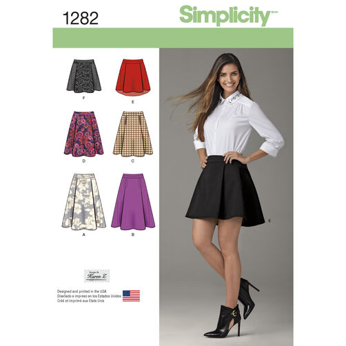 Simplicity Pattern 1282 Misses' Skirt with Length and Trim Variations