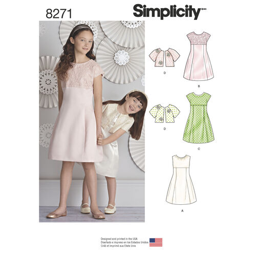 Simplicity Pattern 8271 Child's and Girls' Dress and Jacket