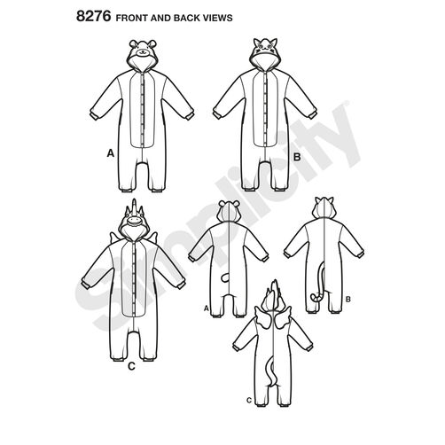 Simplicity Pattern 8276 Misses' Animal Jumpsuits