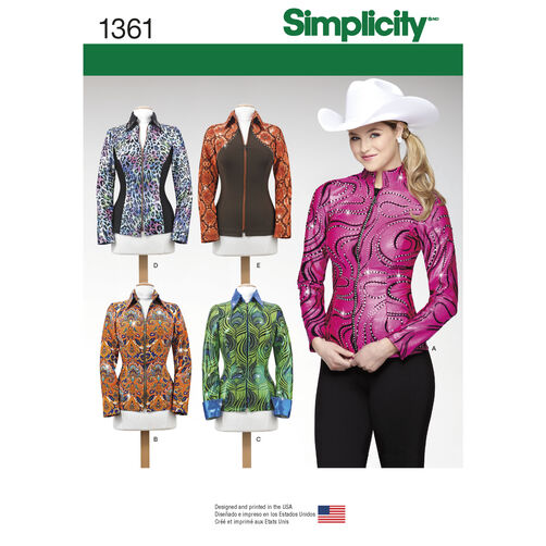 Simplicity Pattern 1361 Misses' Knit Equestrian Performance Shirt