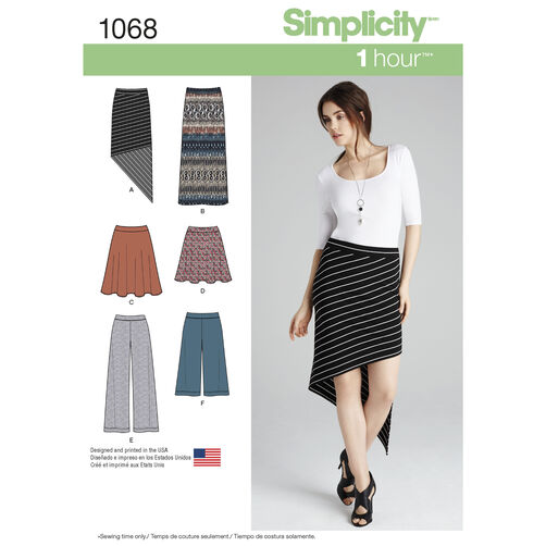 Simplicity Pattern 1068 Misses' Knit Skirts and Pants