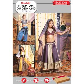 Simplicity Pattern EA535701 Premium Print on Demand Girls' Belly Dancer Costumes