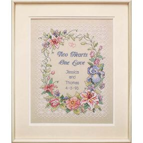Two Hearts Wedding Record, Stamped Cross Stitch_03122
