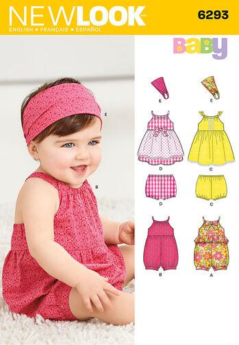 Babies' Romper, Dress, Panties and Headband