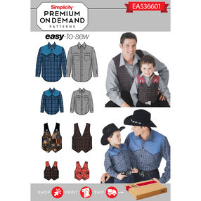 Simplicity Pattern EA536601 Premium Print on Demand Men's/Boys' Western Shirts and Vests