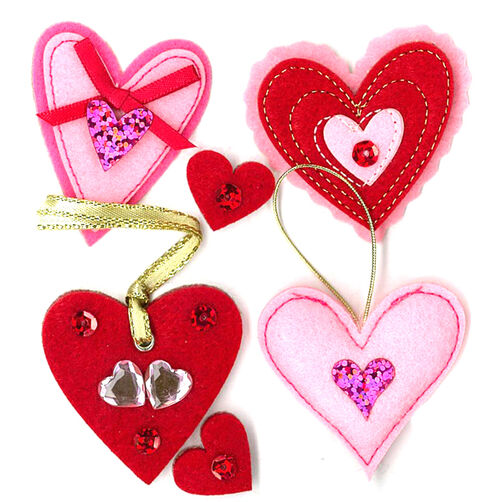 Felt Valentine Hearts Stickers_50-20559