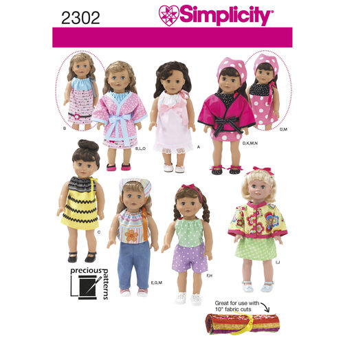 "Simplicity Pattern 2302 Clothes for 18"" Doll"