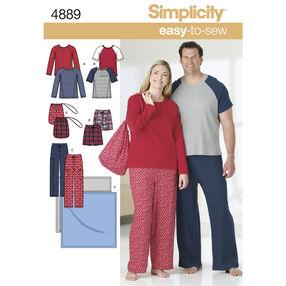 Simplicity Pattern 4889 Women's & Men's Plus Size Loungewear