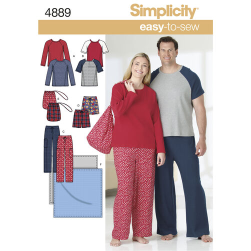 Simplicity Pattern 4889 Women's & Men's Plus Size Loungewear