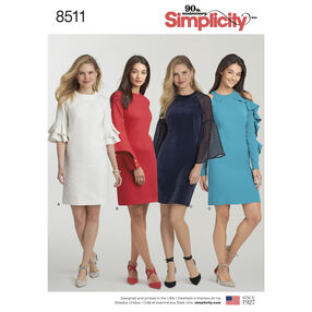 Simplicity Pattern 8511 Misses' Dress with Sleeve Variations