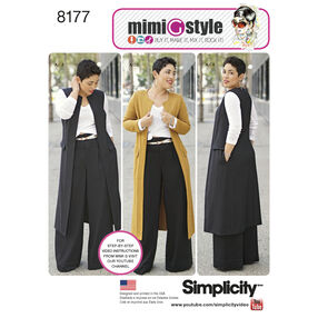 Pattern 8177 Mimi G Style Pants, Coat or Vest, and Knit Top for Miss and Plus Sizes
