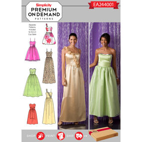 Simplicity Pattern EA244001 Premium Print on Demand Misses' Special Occasion Dresses