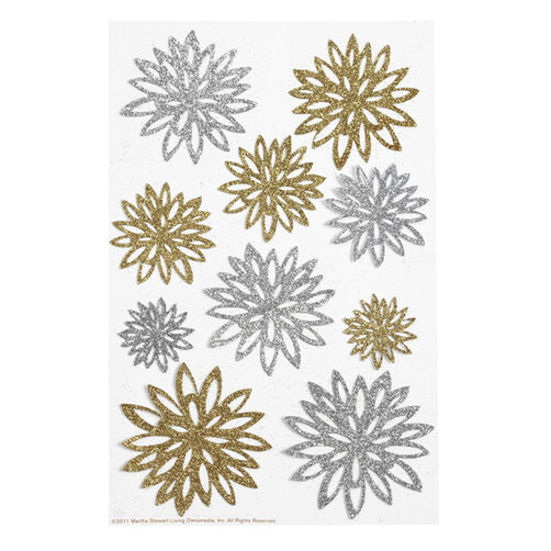 Gold And Silver Chrysanthemum Stickers_41-00211