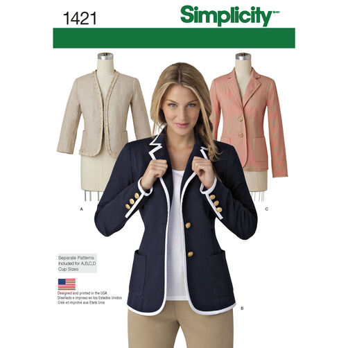 Simplicity Pattern 1421 Misses' Unlined Jacket with Collar and Finishing Variations