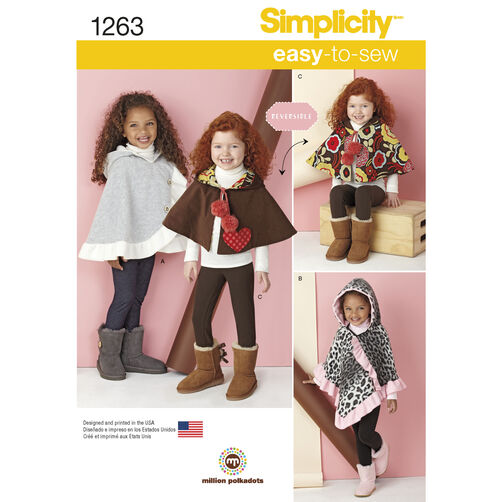 Simplicity Pattern 1263 Child's Poncho and Reversible Cape