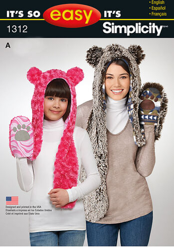 Adult and Child's Animal Hat, Each in Three Sizes
