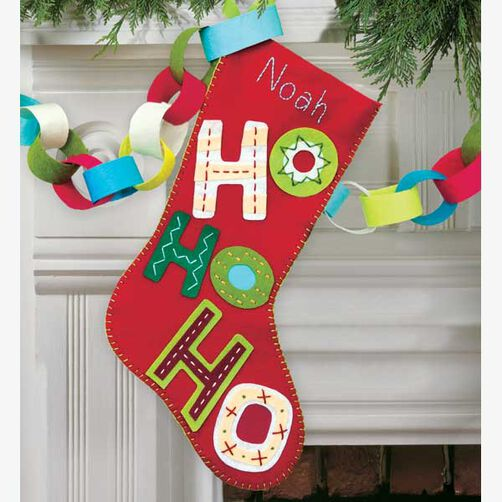 Ho Ho Ho Stocking in Felt Applique_72-08187