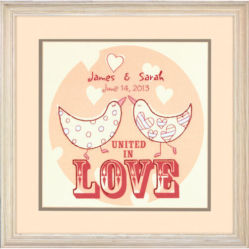 Love Birds Wedding Record Crewel Embroidery Kit_71-73818