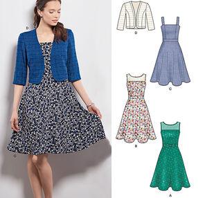 Misses' Dresses with Full Skirt and Bolero