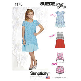 Simplicity Pattern 1175 Dresses, Top and Shorts for Girls and Girls Plus