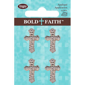 Mini Metallic Cross Iron-On Applique Set