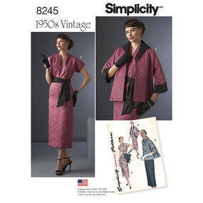 Simplicity Pattern 8245 Vintage 1950s Dress, Sash, and Lined Jacket