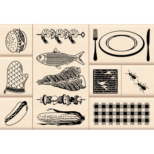 Backyard Barbecue Layering Wood Stamps_60-10106