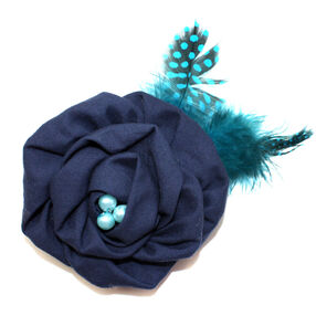 Rolled Rose & Feathers Pin & Clip Flower_56-63045