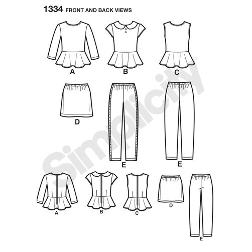 Pattern for Child's & Girls' Top, Mini Skirt and Slim