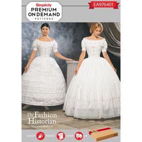 Simplicity Pattern EA976401 Premium Print on Demand Misses' Hoop Skirt Costume