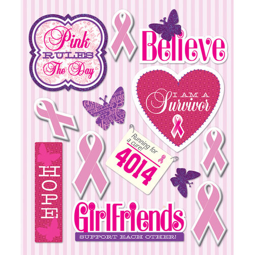 Pink Ribbon Sticker Medley_30-586390