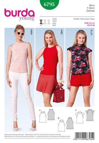 Burda Style Pattern 6795 Tops, Shirts, Blouses