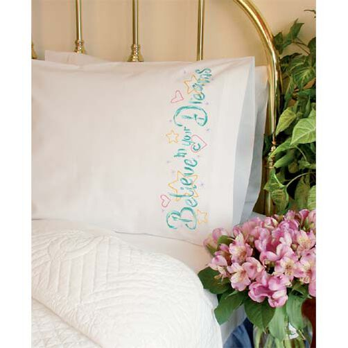 Believe Pillow Cases, Embroidery_73418