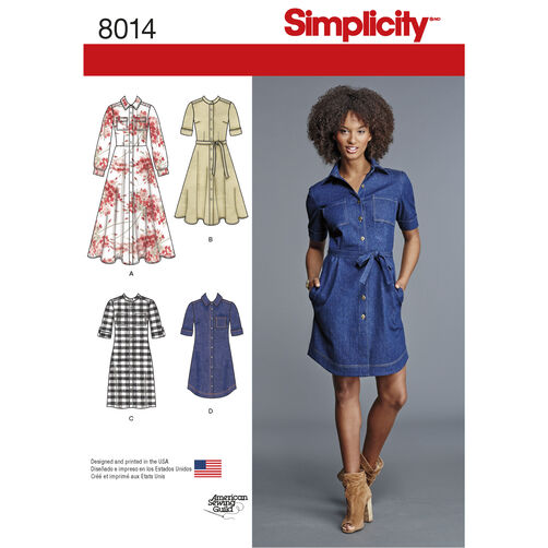 Simplicity Pattern 8014 Misses' Shirt Dress