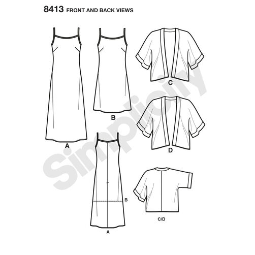 Pattern 8413 Misses' Slip Dress in Two Lengths and Kimono