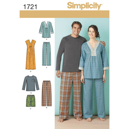 Simplicity Pattern 1721 Misses' & Men's Lounge Wear