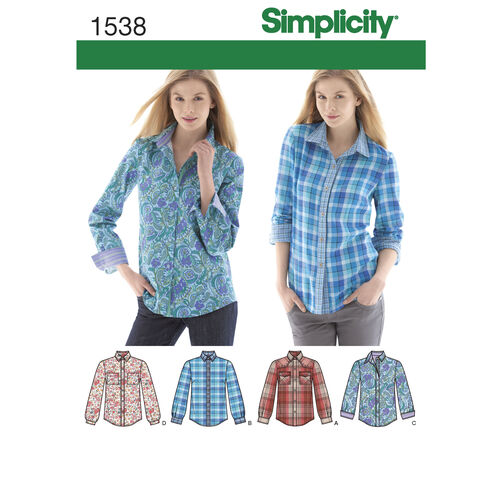 Simplicity Pattern 1538 Misses' Button Front Shirt