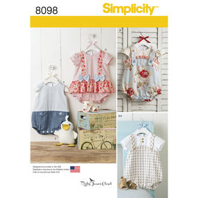 Simplicity Pattern 8098 Babies' Rompers, Sandals, and Stuffed Duck