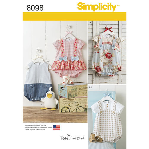 Pattern 8098 Babies Rompers Sandals And Stuffed Duck