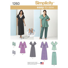 Simplicity Pattern 1260 Misses' Nightgown in Three Lengths, Pajamas & Slippers