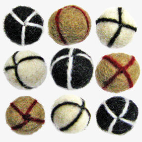 Neutral Embroidered Wool Felt Balls_72-73953